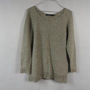 F499 Lauren Ralph Lauren Green Cream Sweater